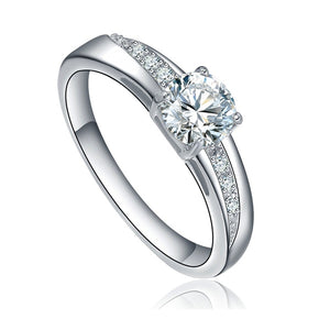 Stainless Steel Round Cubic Zirconia Solitaire Wedding Engagement Ring