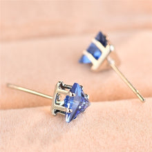 Load image into Gallery viewer, Elegant 925 Silver Triangle Cut Blue Sapphire Gemstone Stud Earrings