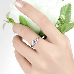 925 Stering Silver Jewelry Finger Ring Crystal Inlay Engagement Wedding Ring