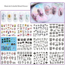 Load image into Gallery viewer, Nail Art Sticker Design Letter Flowers Leaf Slider Nails Sticker Set Mixed