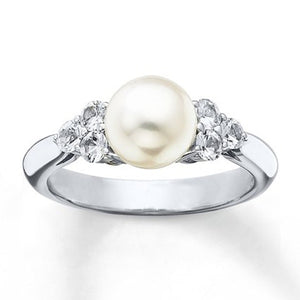 Eleganter Perlen Saphir 925 Sterling Silber Damen Ring