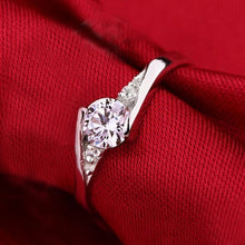 Load image into Gallery viewer, 925 Stering Silver Jewelry Finger Ring Crystal Inlay Engagement Wedding Ring