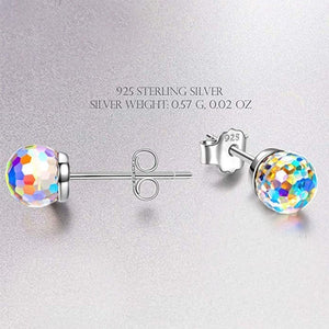 925 Sterling Silver Earrings Disco Ball Crystal Stud Earrings