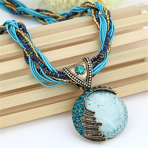 Gem Crystal Multilayer Beads Chain Handmade Bohemia Style Retro Necklace