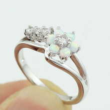 Load image into Gallery viewer, Exquisite Round Cut White Fire Opal Stone 925 Sterling Silver Flower Women Opal Rings