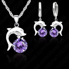 Load image into Gallery viewer, 925 Sterling Silver White Gold Plated Lovely Dolphin Earring Necklace Sets