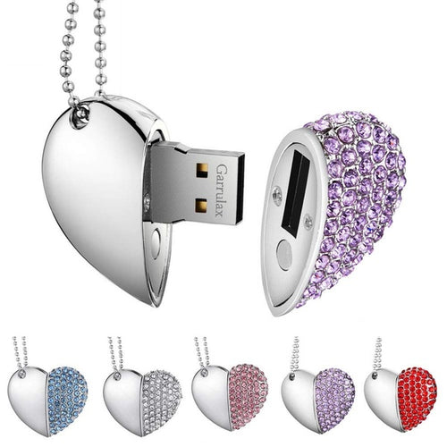 Novelty Diamond Heart USB 2.0 Flash Drive Memory Stick 32GB Pendrive with Necklace