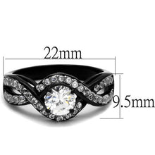 Load image into Gallery viewer, 1.65 Ct Round Cut AAA Cz Black Stainless Steel Engagement Ring