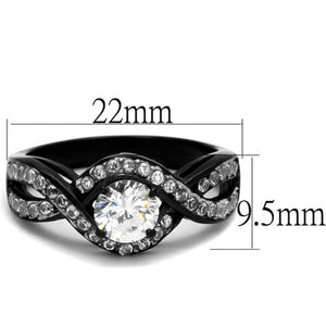1.65 Ct Round Cut AAA Cz Black Stainless Steel Engagement Ring