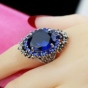 Fashion Natural Rubin Sapphire Ring 925 Sterling Silver Gemstones