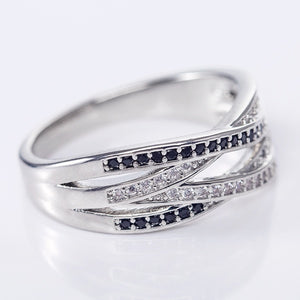 Eleganter 925 Sterling Silber Zirkon Damen Ring