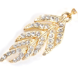Charming Crystal Jeweled Full Rhinestone Leaf Shape Navel Belly Ring Piercing