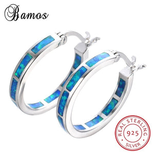 925 Sterling Silver Classic Circle White Blue Fire Opal Hoop Earrings