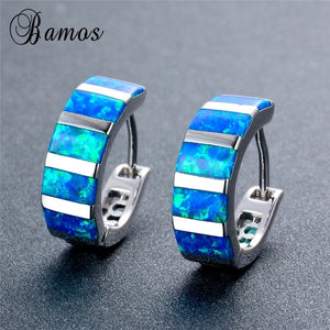 925 Sterling Silver Bamas Exquisite Rectangle Blue Fire Opal Hoop Earrings
