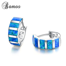 Load image into Gallery viewer, 925 Sterling Silver Bamas Exquisite Rectangle Blue Fire Opal Hoop Earrings