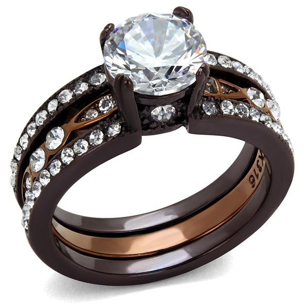 Luxury 2.75 Ct Round Cut Cz Chocolate Stainless Steel Ring Set