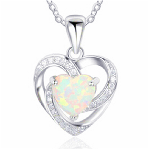925 Silver Jewelry Fire Opal Charm Pendant Necklace