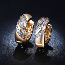 Load image into Gallery viewer, MDEAN Rose Gold Plated CZ Diamond Jewelry AAA Zircon Hoop Earrings