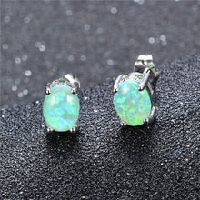 Load image into Gallery viewer, Elegante grüner Feueropal 925 Sterling Silber Damen Ohrstecker