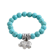 Load image into Gallery viewer, 6mm White Elephant Turquoise Beads Tibet Pendant Elastic Bracelet