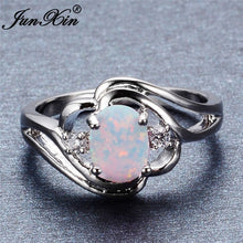 Load image into Gallery viewer, Exquisite Women's 925 Sterling Silver Oval Cut White Fire Opal Ring