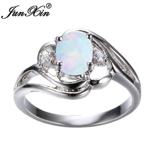 Exquisite Women's 925 Sterling Silver Oval Cut White Fire Opal Ring
