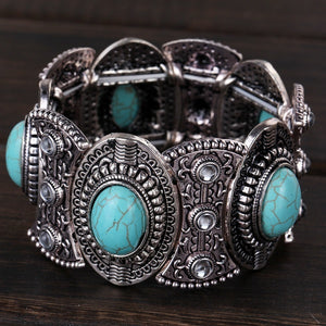 Vintage Tibetan Silver Ethnic Gothic Oval Turquoise Inlay Wide Bangle Bracelet