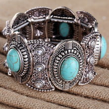 Load image into Gallery viewer, Vintage Tibetan Silver Ethnic Gothic Oval Turquoise Inlay Wide Bangle Bracelet