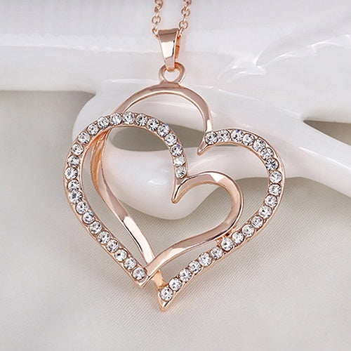 Rose gold Crystal Double Love Heart Pendant Luxury Necklaces