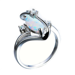 Marquise Cut White Fire Opal S Shape White Gold Ring for woman