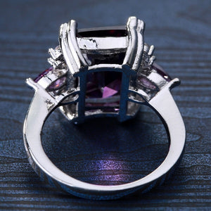 Natural 6.83CT Purple Amethyst 925 Sterlng Silver Ring