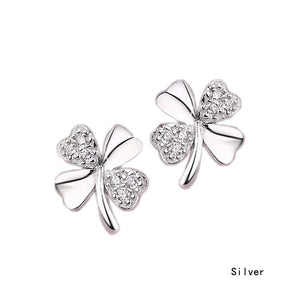 New Fashion Cute 925 Silver Plated Lucky 4-Leaf Ear Stud Earrings