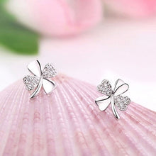 Load image into Gallery viewer, New Fashion Cute 925 Silver Plated Lucky 4-Leaf Ear Stud Earrings