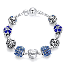 Load image into Gallery viewer, 925 Sterling Silver Crystal Bangle Charm Bracelet for Woman