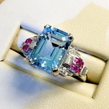 Load image into Gallery viewer, Wunderschöner 925 Sterling Silber und Aquamarine Damen Ring