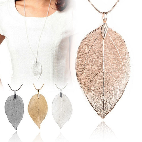 Ladies Chain Leaf Hollow out Necklace Jewerly Sweater chain