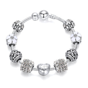 925 Sterling Silver Crystal Bangle Charm Bracelet for Woman