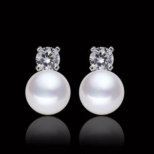 925 Sterling Silver white real freshwater Pearl cz diamond earrings