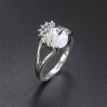 Load image into Gallery viewer, 925 Sterling Silver Natural Gemstone White Fire Opal Ring