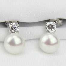 Load image into Gallery viewer, 925 Sterling Silver white real freshwater Pearl cz diamond earrings