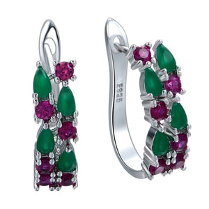 Colorful Amethyst & Ruby 925 Sterling Silver Hoop Earrings