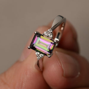 925 Sterling Silver Ring Rainbow Engagement Diamond Ring