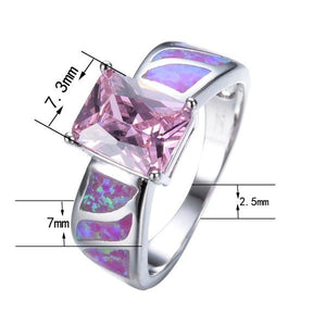 Pink Square Zircon & Purple Fire Opal Ring for Women