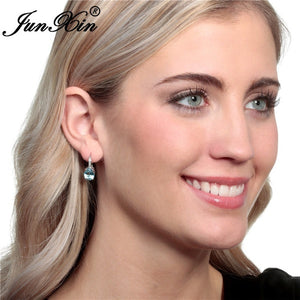 Junxin Exclusive 925 Silver Nature Aquamarine Damen Ohrringe