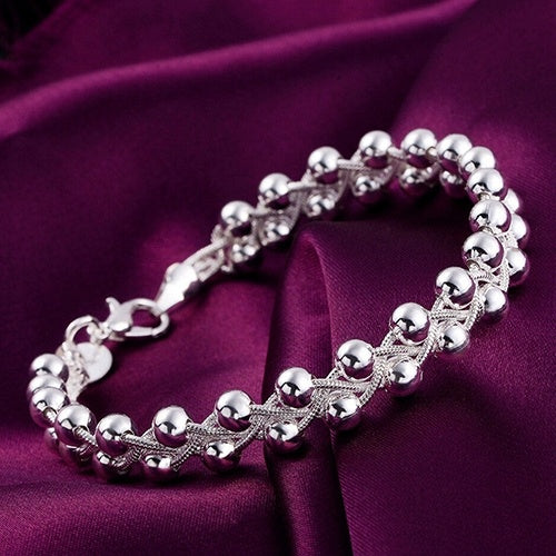 925 Sterling Silver Plated Fashion Beads Party Chain Bracelet