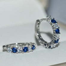 Load image into Gallery viewer, 925 Sterling Silver Round Sapphire CZ Hoop Stud Earrings