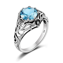 Load image into Gallery viewer, 925 Sterling Silver 2ct CZ Blue Crystal Vintage Ring