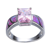 Load image into Gallery viewer, Pink Square Zircon & Purple Fire Opal Ring for Women