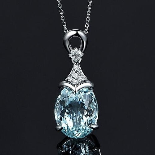 Exquisite Women's 925 Sterling Silver Chain Necklace + Aquamarine Gemstone Pendant