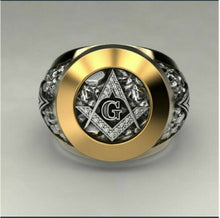 Load image into Gallery viewer, Edler 750 Gold beschichtet weisser Topas Masonic Herren Ring